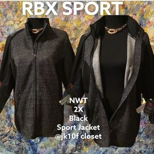NWT RBX 2X Blk Zip-up MoistureWicking Sport Jacket